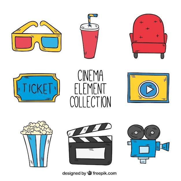 Coleção de elementos de filmes desenhados mão Vetor grátis