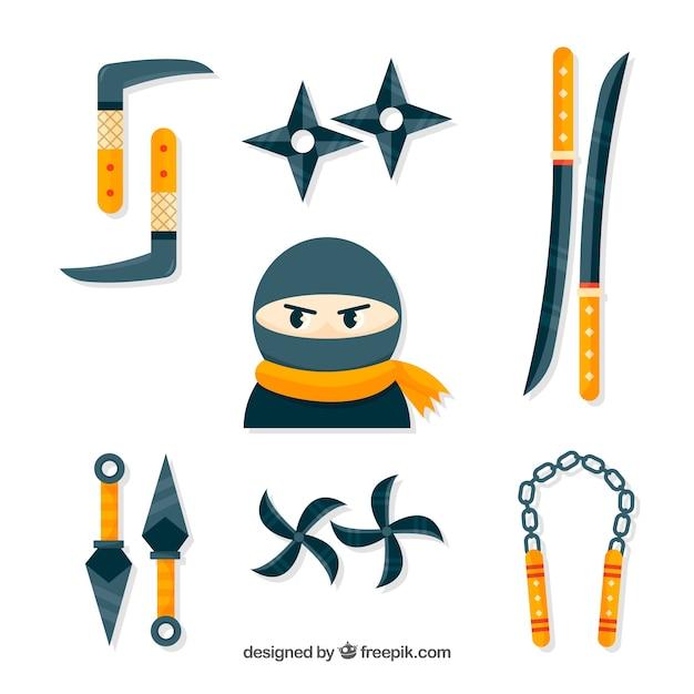 Coleção de elementos de guerreiro ninja com design plano Vetor grátis