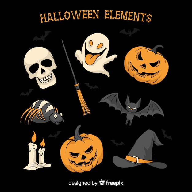 Coleção de elementos de halloween na mão desenhada estilo Vetor grátis