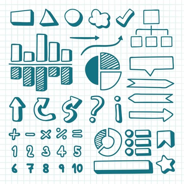 Coleção de elementos de infográfico desenhados Vetor grátis