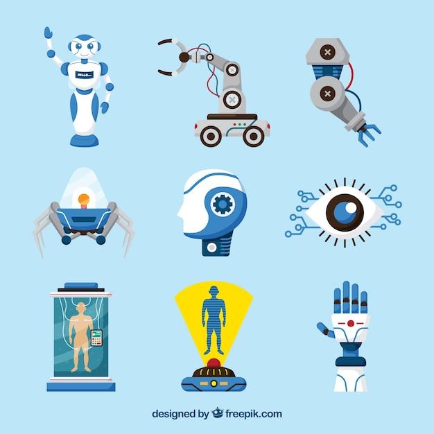 Coleção de elementos de inteligência artificial em estilo simples Vetor grátis