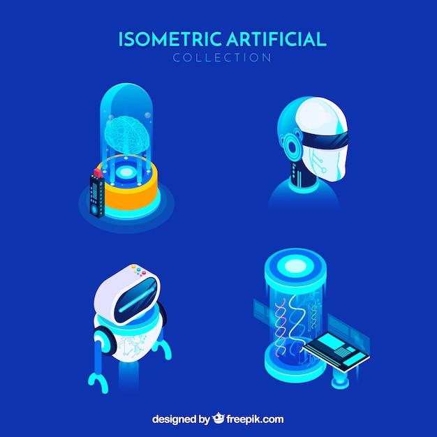 Coleção de elementos de inteligência artificial no estilo isométrico Vetor grátis