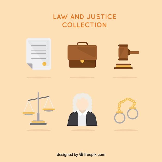 Coleção de elementos de lei e justiça Vetor grátis