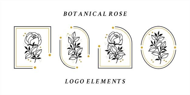 Coleção de elementos de logotipo vintage de flor rosa desenhada à mão para produtos femininos ou marcas de beleza Vetor Premium