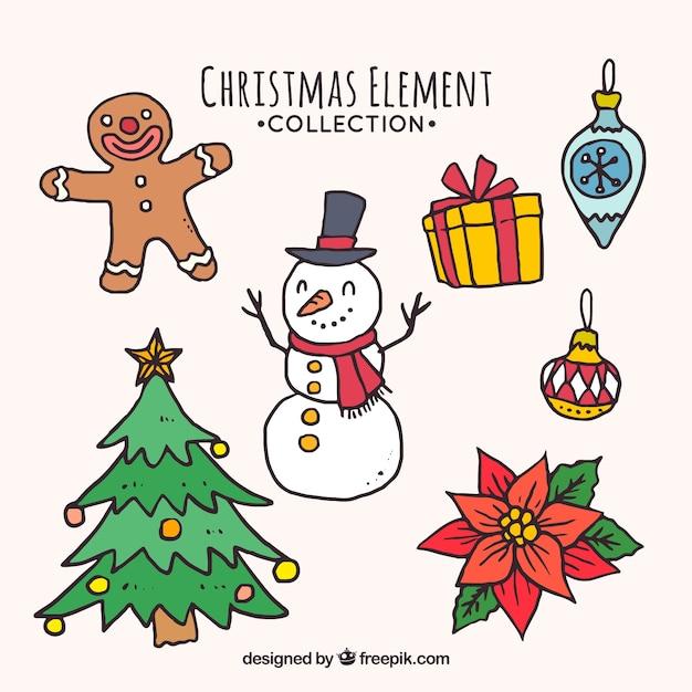 Coleção de elementos de natal desenhada a mão Vetor grátis