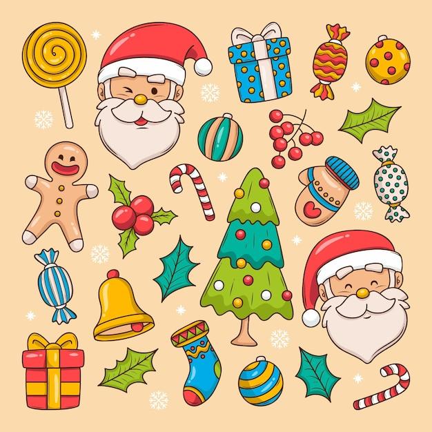 Coleção de elementos de natal desenhada à mão Vetor grátis