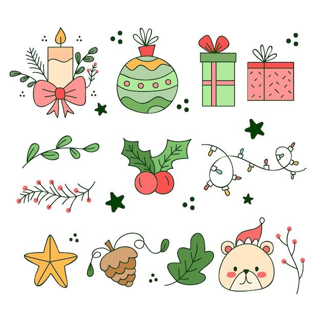 Coleção de elementos de natal desenhados à mão Vetor grátis