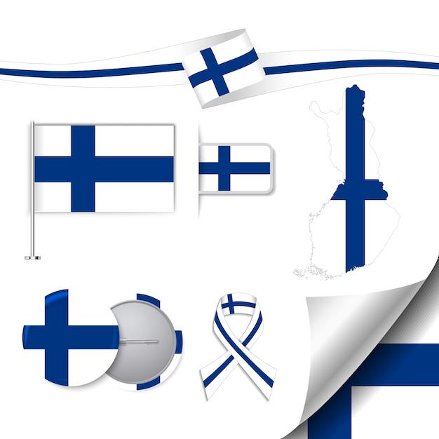 Coleção de elementos de papelaria com bandeira de design finlandês Vetor grátis