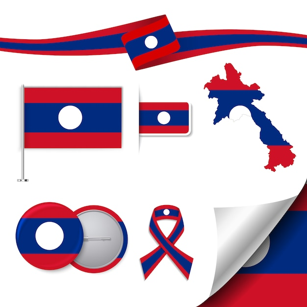 Coleção de elementos de papelaria com bandeira de design laos Vetor grátis