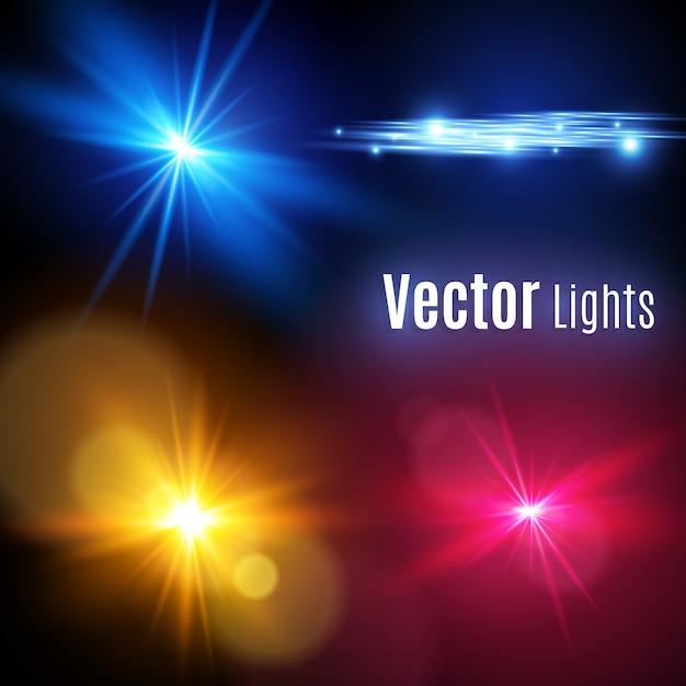 Coleção de elementos de reflexo de lente realista. design transparente de efeito de luz. uma luz brilhante amarela explode. ilustração do efeito de decoração de luz com raio. estrela brilhante. Vetor Premium