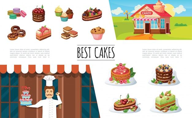 Coleção de elementos de sobremesas dos desenhos animados com bolos de confeiteiro confeiteiro bolos e torta com bolinhos de bolinhos de bolinhos de bagas Vetor grátis