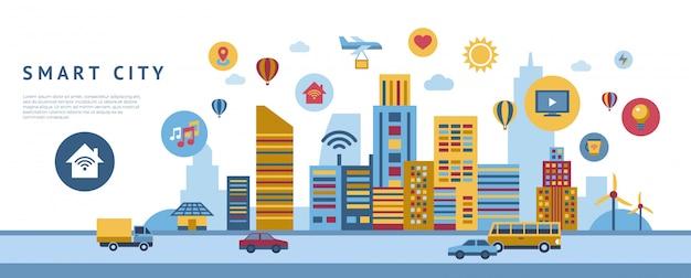 Coleção de elementos de tecnologia cidade inteligente Vetor Premium