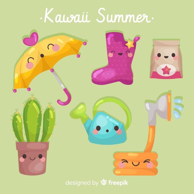 Coleção de elementos de verão colorido kawaii Vetor grátis