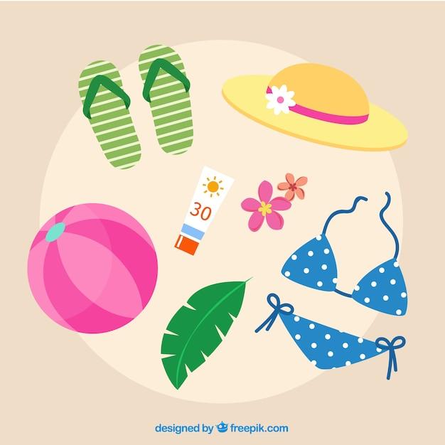 Coleção de elementos de verão com roupas em estilo simples Vetor grátis