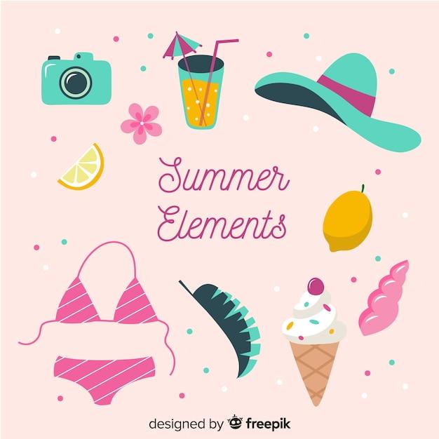 Coleção de elementos de verão Vetor grátis