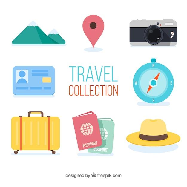 Coleção de elementos de viagem com design plano Vetor grátis