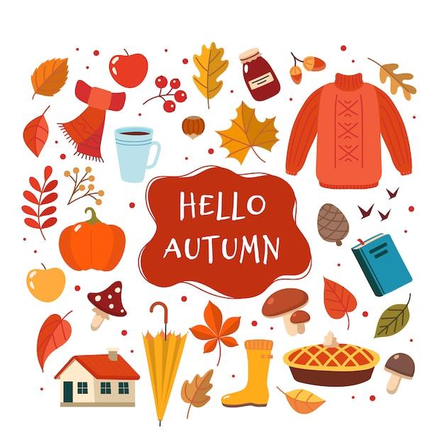 Coleção de elementos desenhados mão outono com letras. Vetor Premium