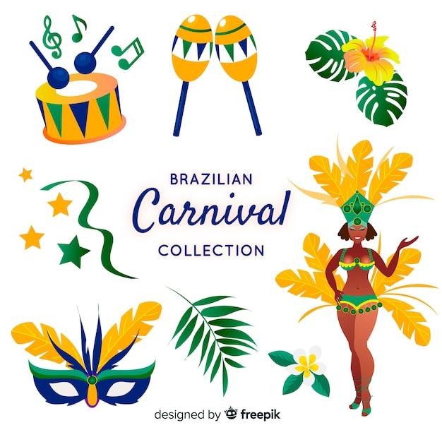 Coleção de elementos do carnaval brasileiro Vetor grátis