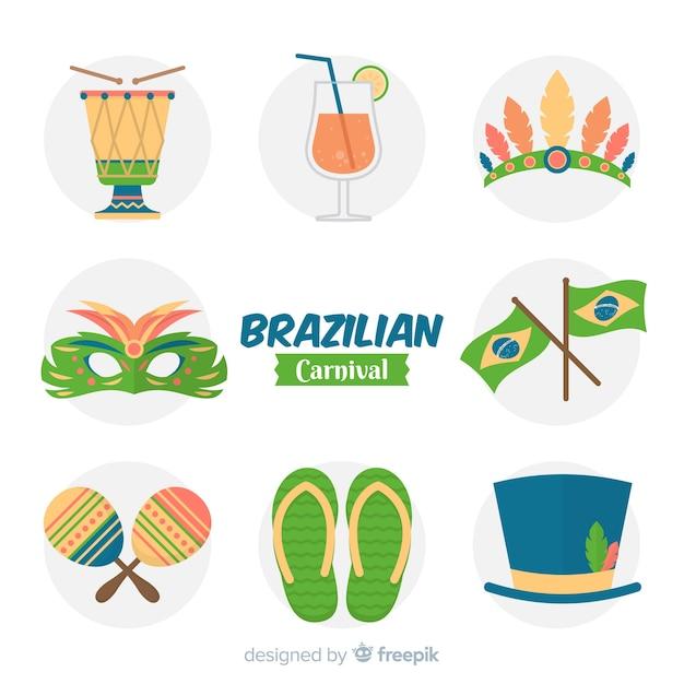 Coleção de elementos do carnaval brasileiro Vetor Premium