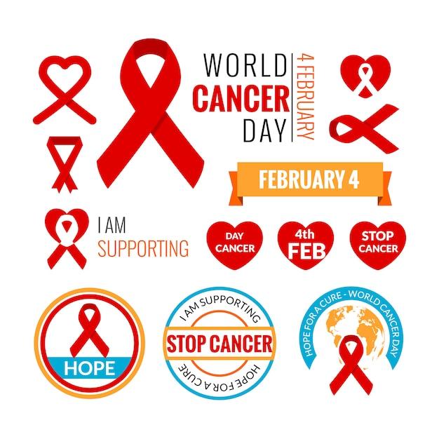 Coleção de elementos do dia mundial do câncer Vetor Premium