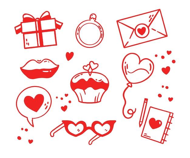 Coleção de elementos do doodle do dia dos namorados Vetor grátis