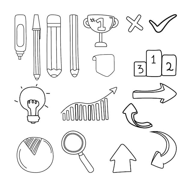 Coleção de elementos do infográfico escolar desenhado à mão Vetor grátis