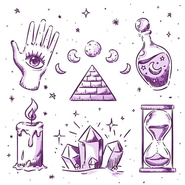 Coleção de elementos esotéricos Vetor Premium
