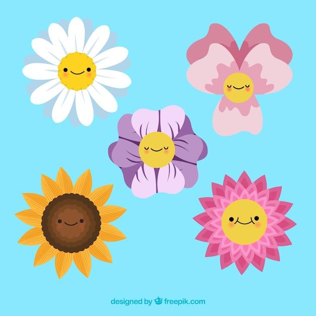 Coleção de elementos florais coloridos com design plano Vetor grátis