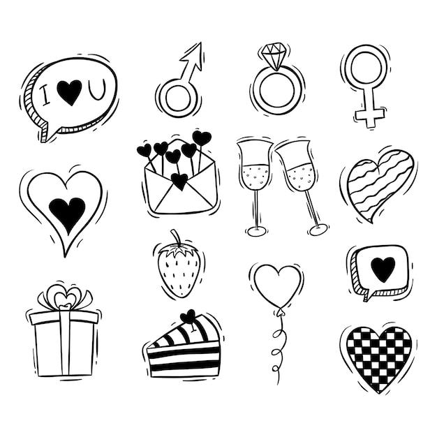 Coleção de elementos fofo dia dos namorados com mão desenhada ou estilo doodle Vetor Premium