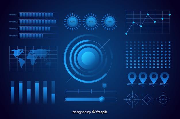 Coleção de elementos futuristas infográfico Vetor grátis