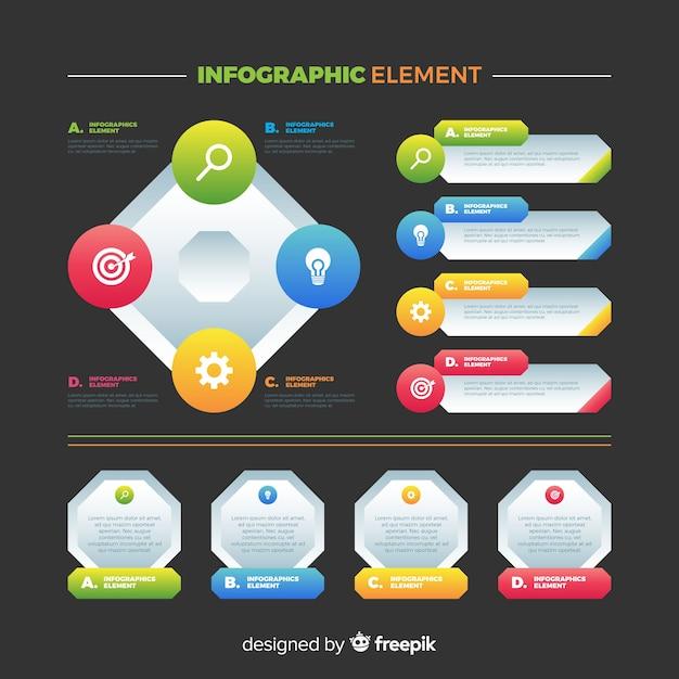 Coleção de elementos infográfico colorido liso Vetor grátis