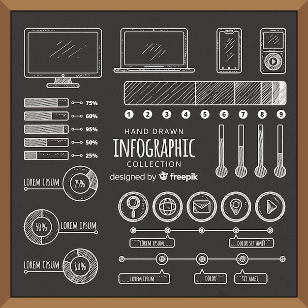 Coleção de elementos infográfico de quadro-negro Vetor grátis