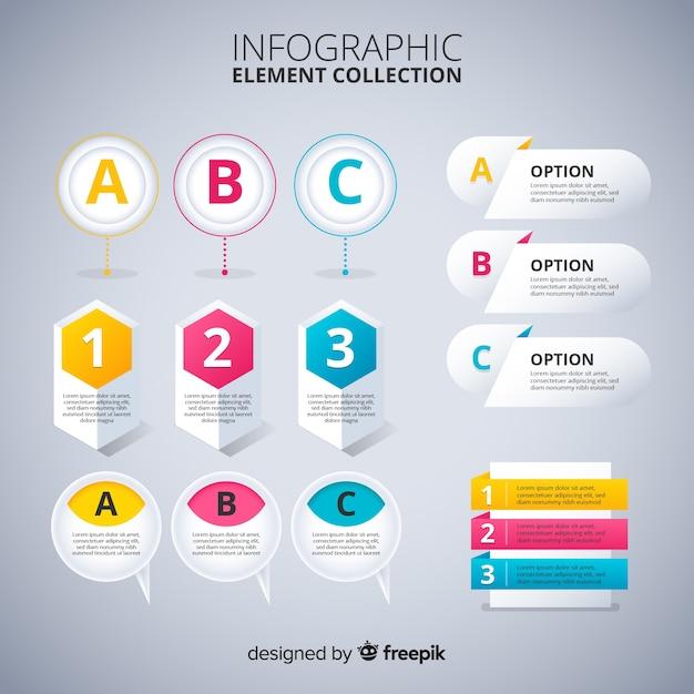 Coleção de elementos infográfico design plano Vetor grátis