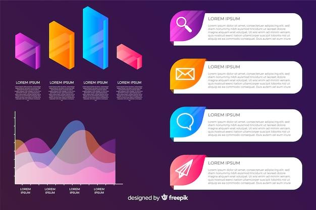 Coleção de elementos infográfico em estilo gradiente Vetor grátis
