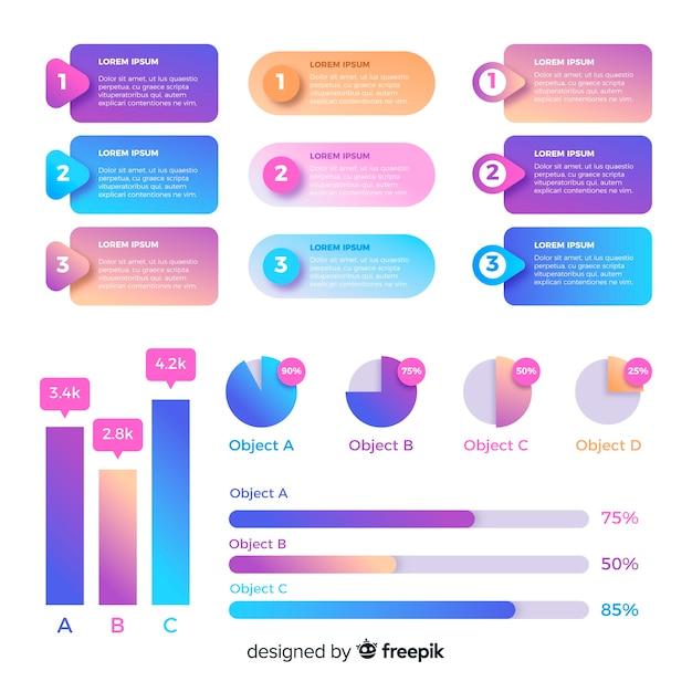 Coleção de elementos infográfico gradiente Vetor Premium