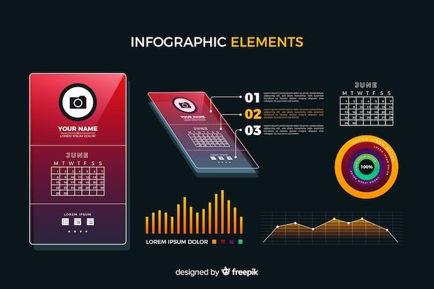 Coleção de elementos infográfico gradiente Vetor grátis