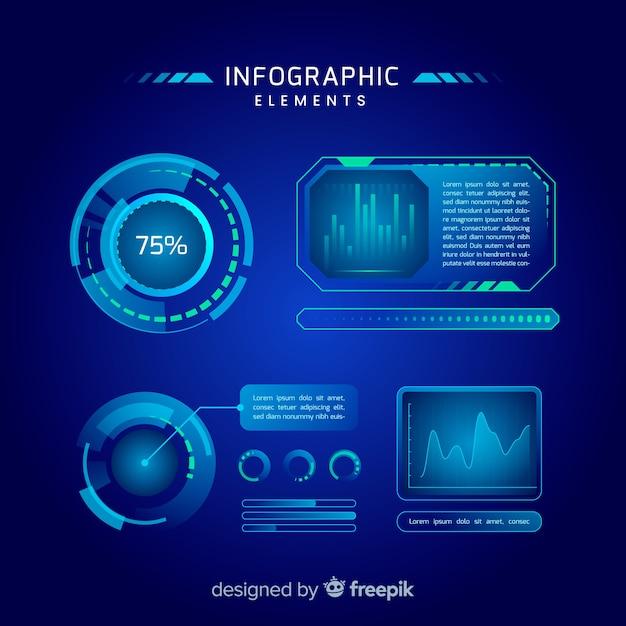 Coleção de elementos infográfico holograma futurista Vetor grátis