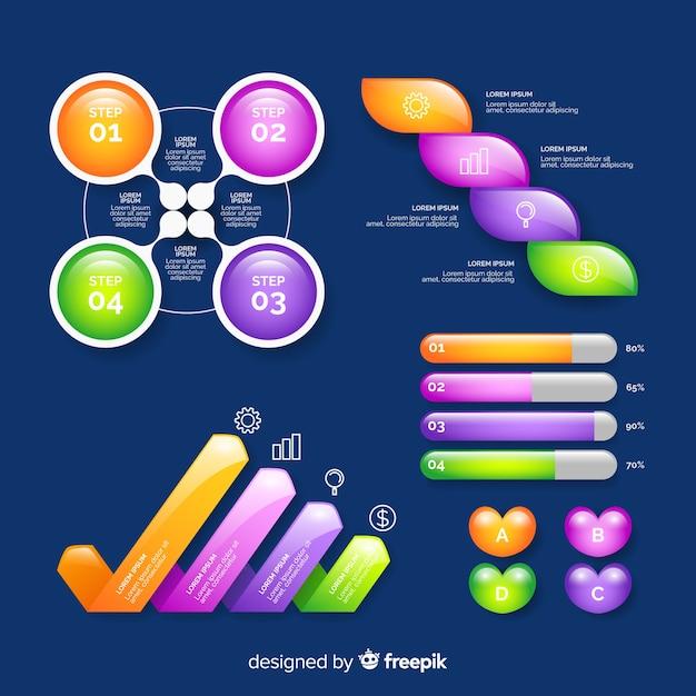 Coleção de elementos infográfico lustroso realista Vetor grátis