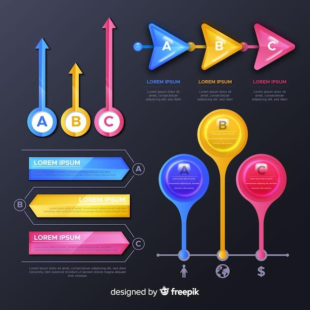 Coleção de elementos infográfico lustroso Vetor grátis