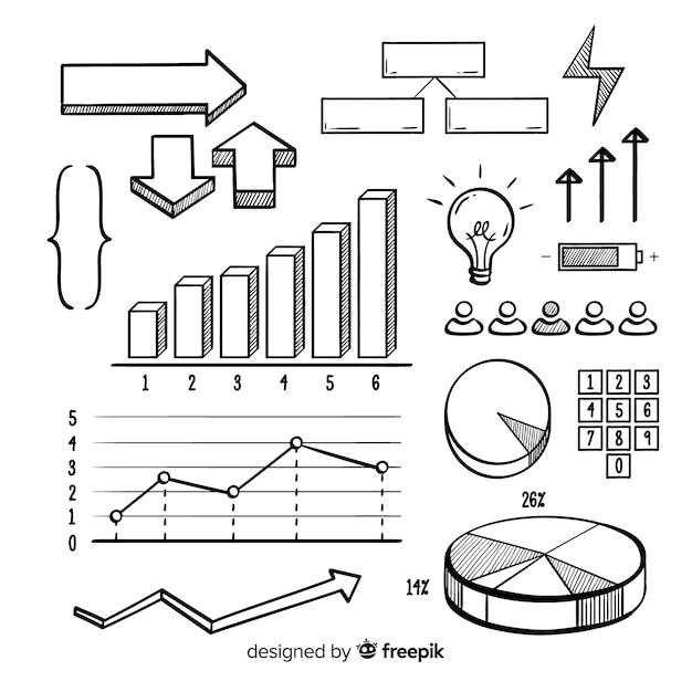 Coleção de elementos infográfico mão desenhada Vetor grátis