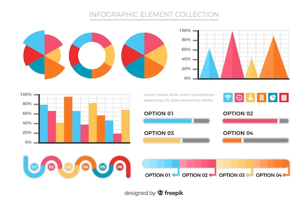 Coleção de elementos infográfico plana Vetor grátis