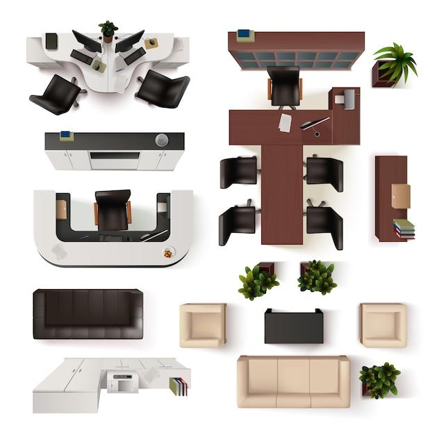 Coleção de elementos interiores do escritório Vetor grátis
