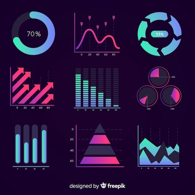 Coleção de elementos modernos infográfico com estilo gradiente Vetor grátis