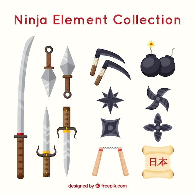 Coleção de elementos ninja com design plano Vetor grátis