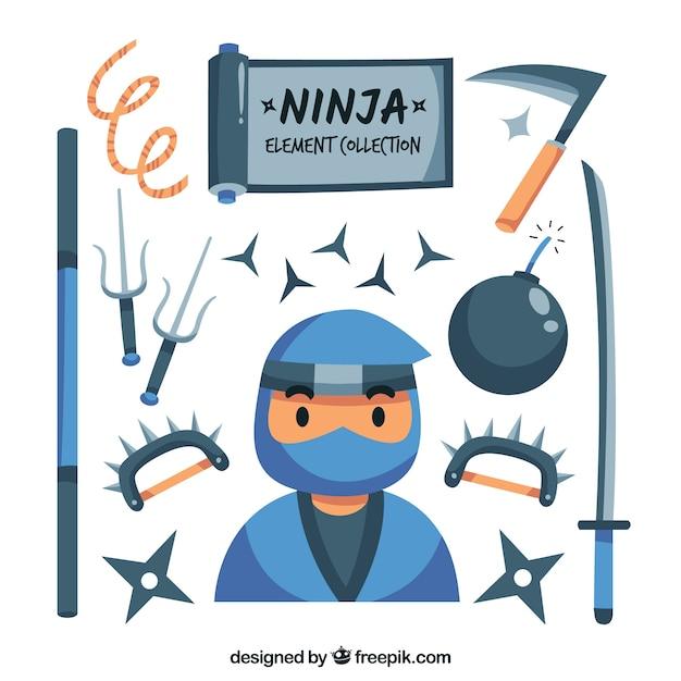 Coleção de elementos ninja em design plano Vetor grátis