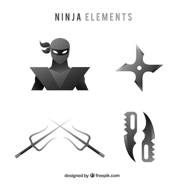 Coleção de elementos ninja tradicional com design plano Vetor grátis