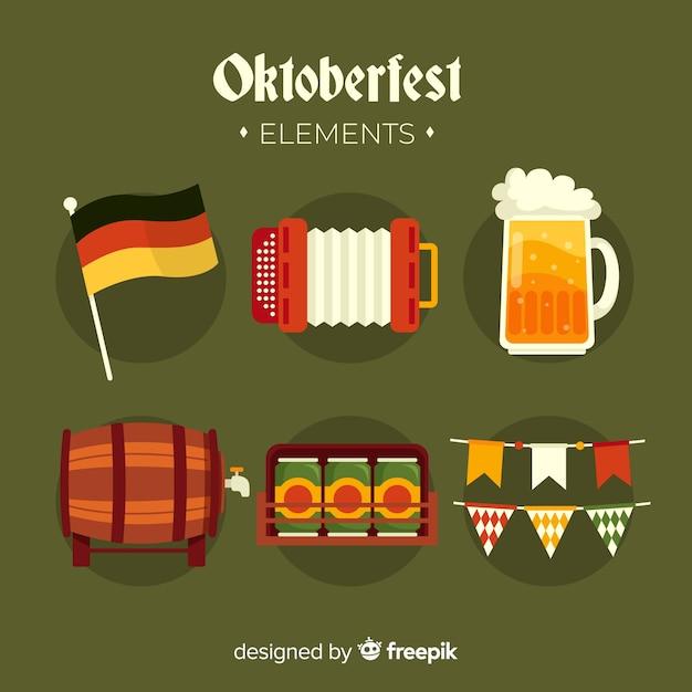 Coleção de elementos oktoberfest design plano Vetor grátis