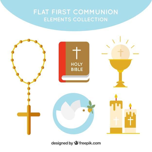 Coleção de elementos religiosos em design plano Vetor grátis