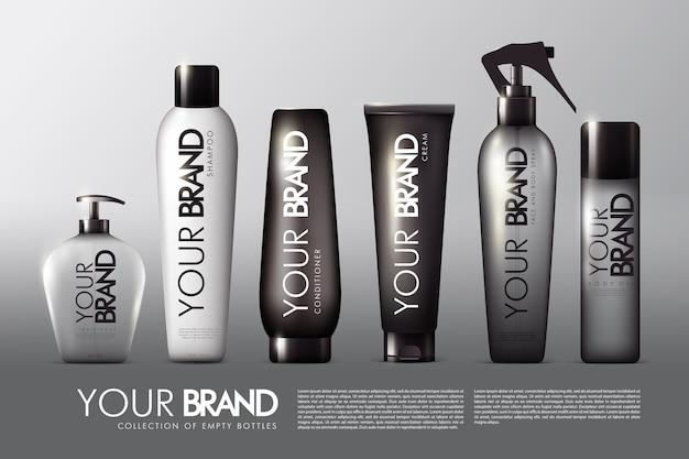 Coleção de embalagens de cosméticos realistas com sabonete líquido, shampoo condicionador e creme em spray Vetor grátis