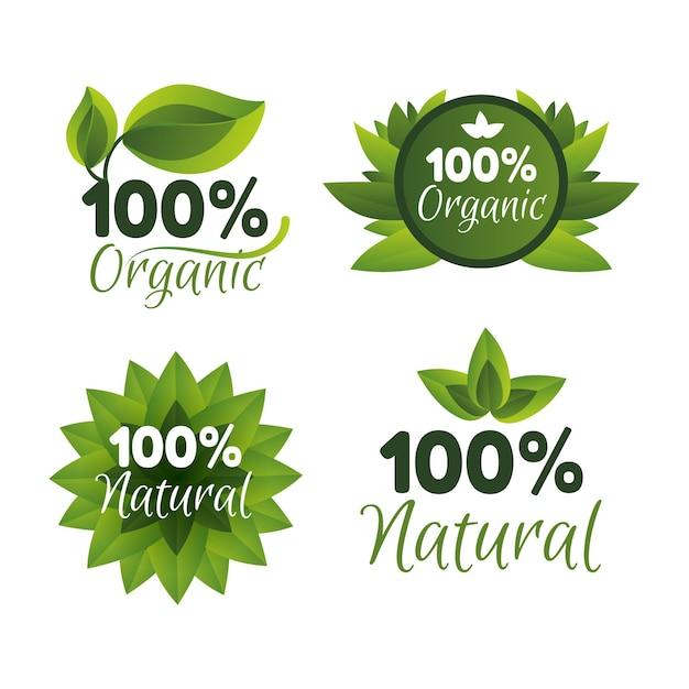 Coleção de emblemas cem por cento naturais Vetor grátis